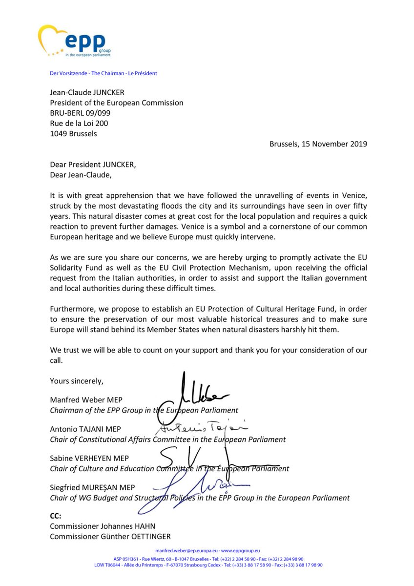 #Venezia, al Presidente della Commissione Juncker abbiamo proposto di attivare il Fondo di solidarietà Ue, il Meccanismo di protezione civile Ue (se il #governo deciderà di farne richiesta!) e di istituire un fondo apposito per la tutela del patrimonio culturale. Siamo con voi!