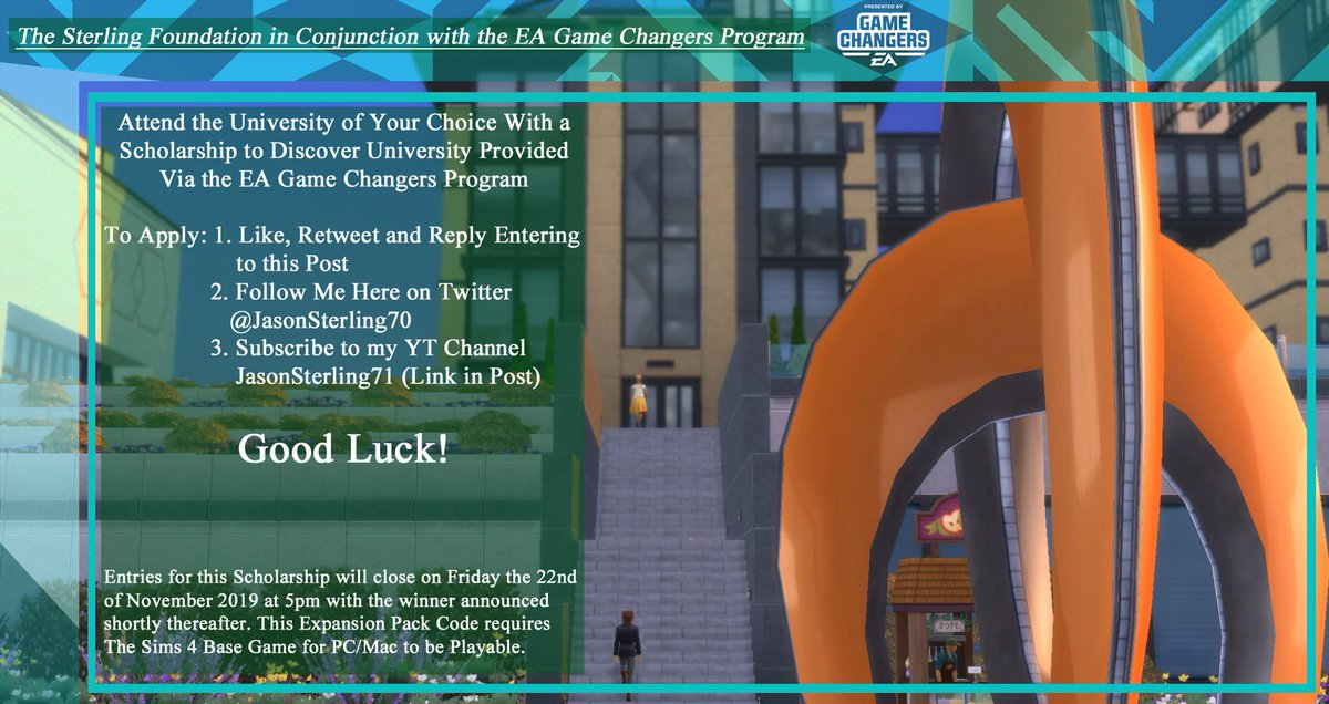 The Sterling Foundation in conjunction with EA Game Changers is providing a second scholarship to help you Discover University. See photos for details: YT LINK: youtube.com/user/Jasonster… #TheSims4 #TheSims4DiscoverUniversity #EAGameChangers Thanks and Good luck!