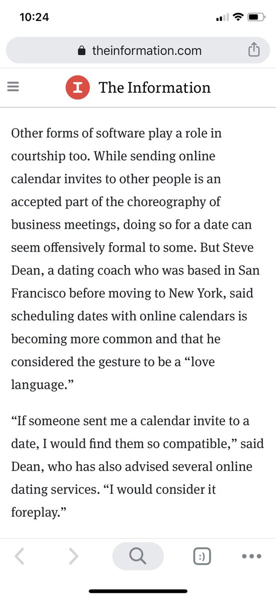 Is sharing Google calendars your love language? Read @zoeSaintBernard's latest on how tech has transformed dating in SF and weep 😂https://www.theinformation.com/articles/freemium-love-tech-transforms-dating-in-san-francisco?eu=472116b367af43b96bfb&utm_content=article-4054&utm_campaign=article_email&utm_source=sg&utm_medium=email …