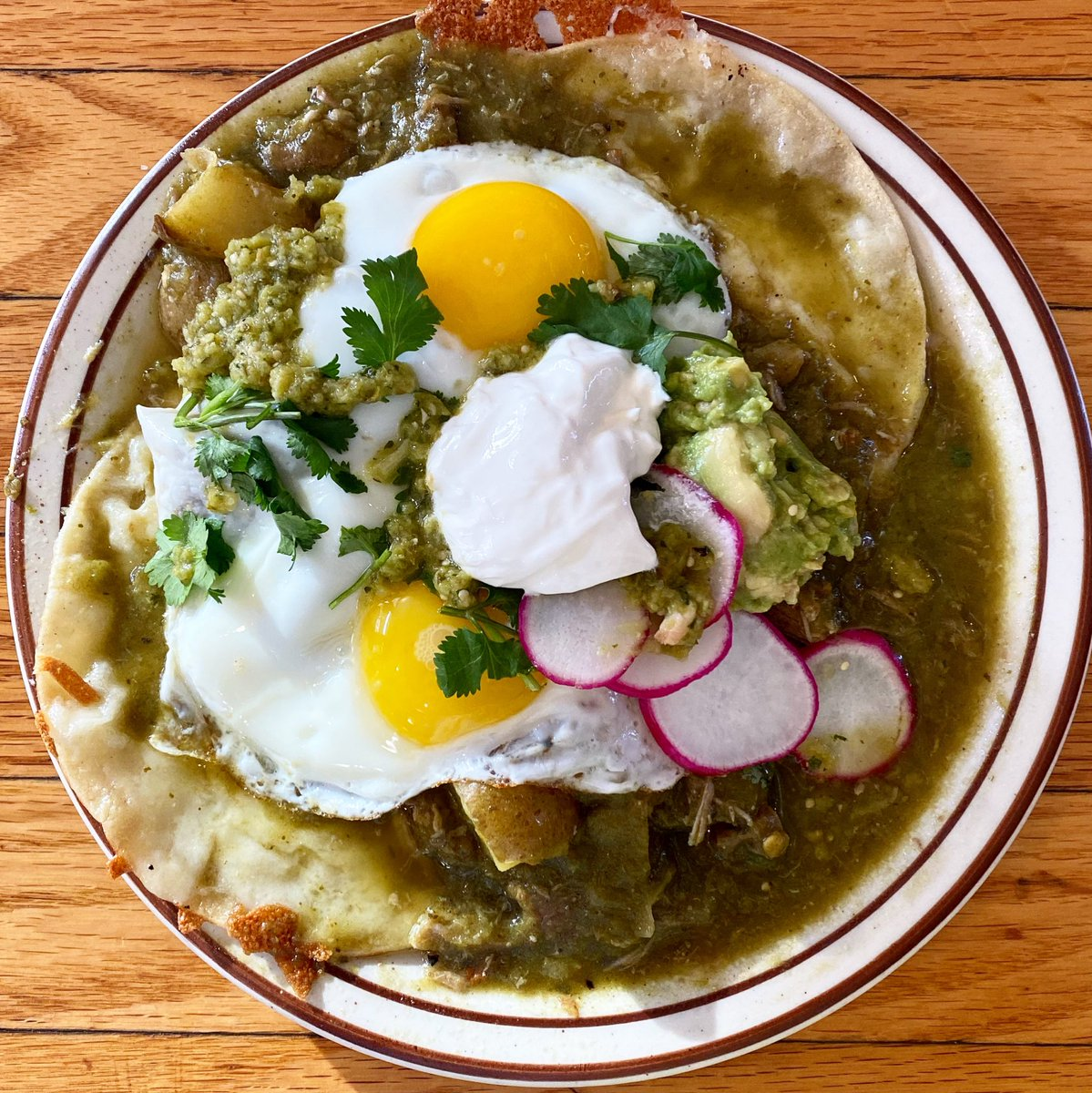 Pork Chile Verde & Eggs on special today. Much cheese, many green!