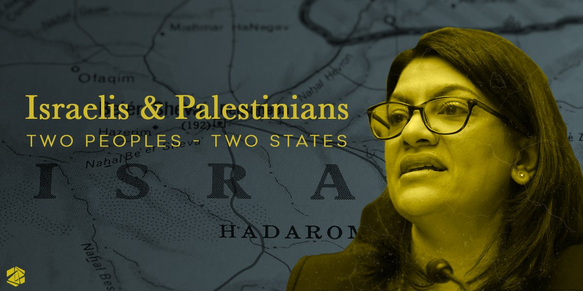 The only equitable solution to the conflict between Israelis and Palestinians is one with two states! @RashidaTlaib's support for one state that seeks to remove Israel's status as the Jewish Homeland is just another on a long list of giveaways to her true #antisemitic intentions.