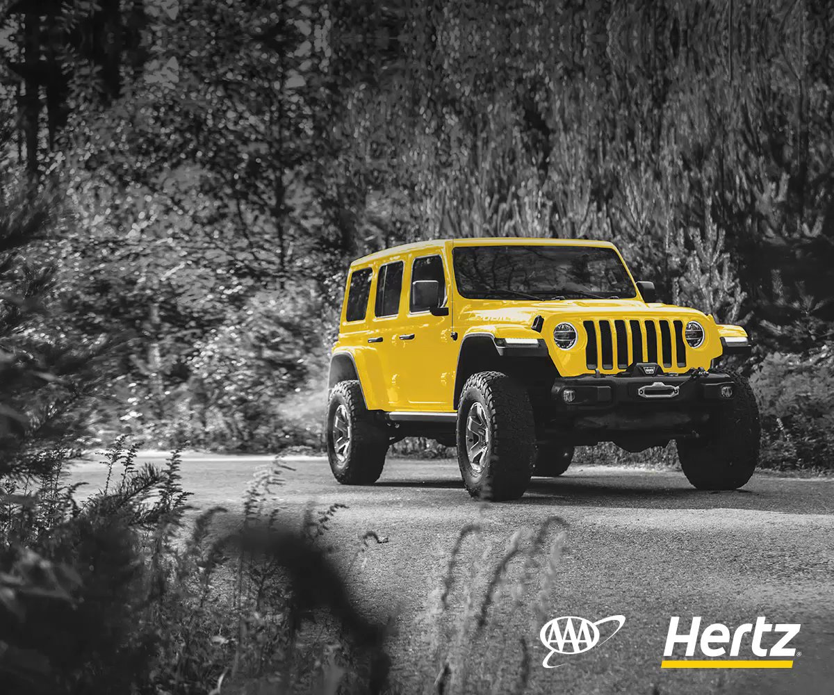 Use your #AAADiscounts to save up to 20%, plus up to $30 off the base rate, on weekly and weekend rentals when renting at Hertz.* Book now:    *Applies to pay later base rate. Taxes and fees excluded. Terms apply. Ends 11/30/19.