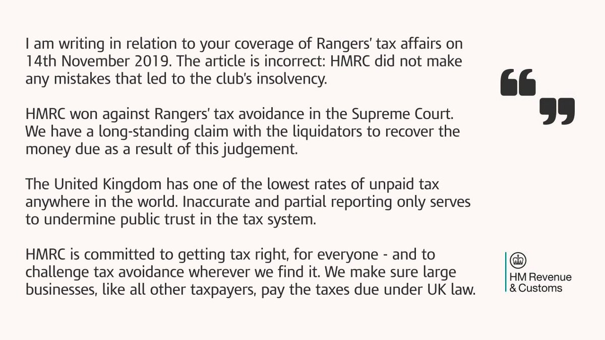 Jim Harra, HMRC's Chief Executive and First Permanent Secretary, has sent a letter to @thetimesscot editor following a story written yesterday.
