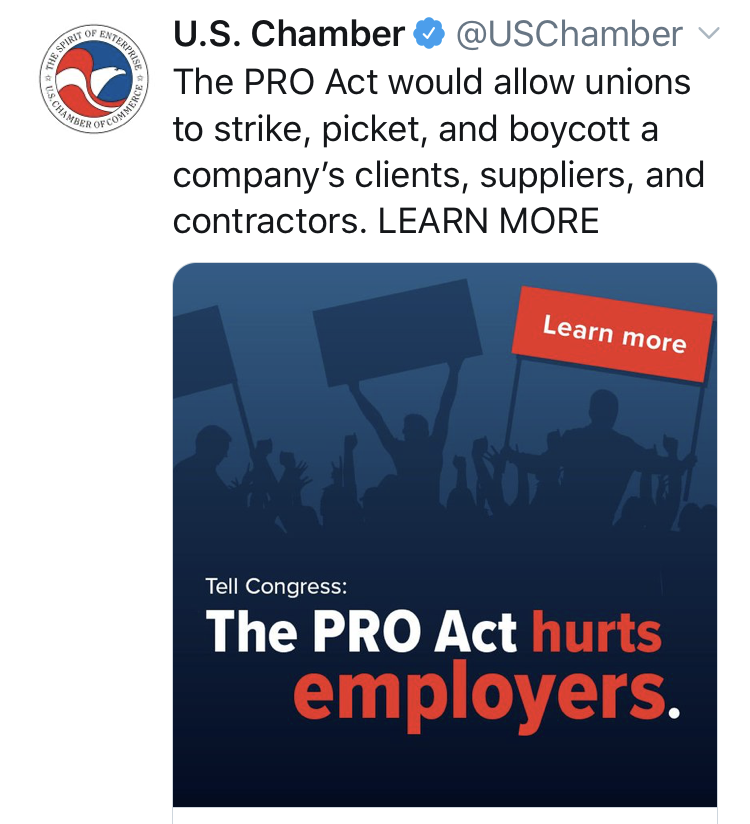 Sounds amazing! Thanks @USChamber for spreading the word about how great the #PROAct is. #1u <br>http://pic.twitter.com/nRTbEaJVkN