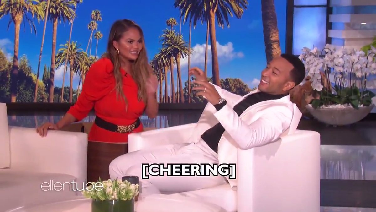 .@JohnLegend  was my guest host today, so of course @ChrissyTeigen  had to come and scare him.