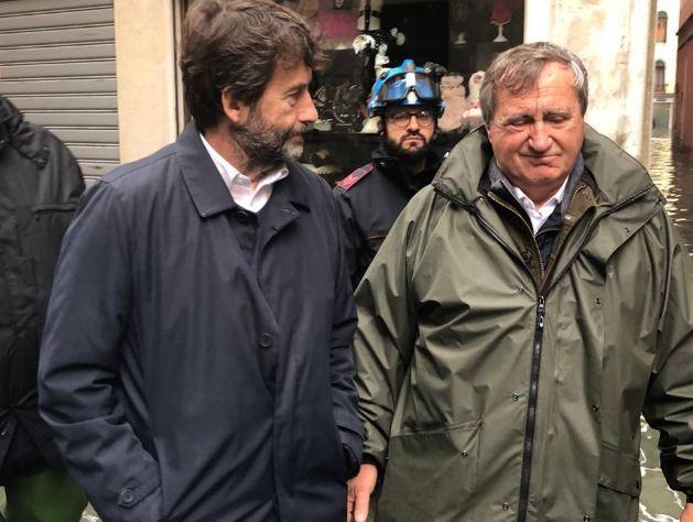 #Venezia, acqua alta: la visita del ministro @dari...