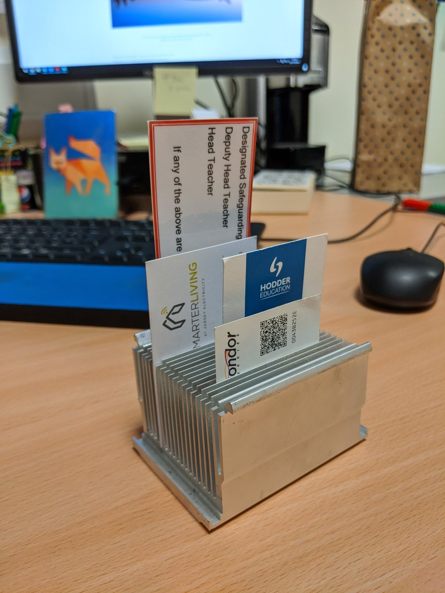#reuse and old PC heatsink as a business card holder! #recycling #recycled #organised #tidy
