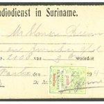 Image for the Tweet beginning: Surinaamse telefoonkwitantie met plakzegel van