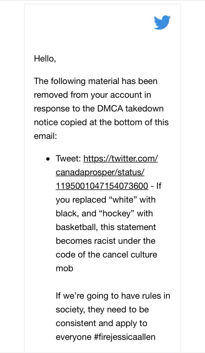 .@CTV_PR has had our post about @jessieraeallen taken down on a copyright infringement complaint We clearly struck a nerve about their support of discriminatory comments. We were exclusively targeted as the video is still widely circulating #jessicaallen #cancelthesocial