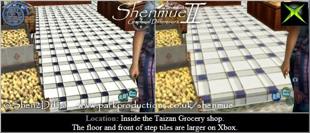 Green Market Qr. Taizan Grocery shop. Just like a previous shop the floor and front of step tiles are larger on Xbox. http://www.parkproductions.co.uk/shenmue/  #Shen2Diffs #Shenmue #Shenmue2