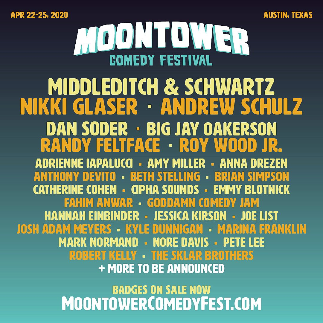 Round 1 🙌 Badges on sale now at moontowercomedyfest.com.