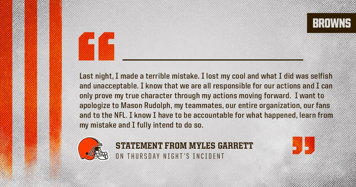 Statement from Myles Garrett: