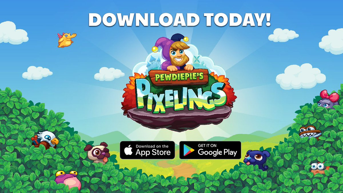 WOT?! PewDiePie's Pixelings is available for download now!  What are you waiting for?! Click the links below to get in on the fun! iOS:  https://buff.ly/2pNG0aT Android:  https://buff.ly/34C68nZ  #pewdiepie  #pixelings