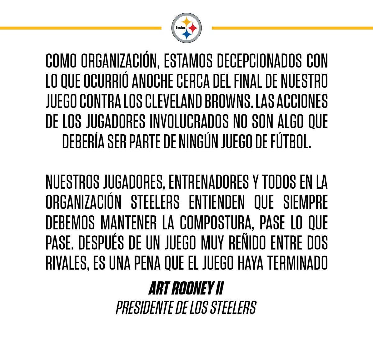 Declaración del presidente de los #Steelers Art Rooney II después del partido de jueves por la noche en Cleveland. https://t.co/JoCnKtObX8