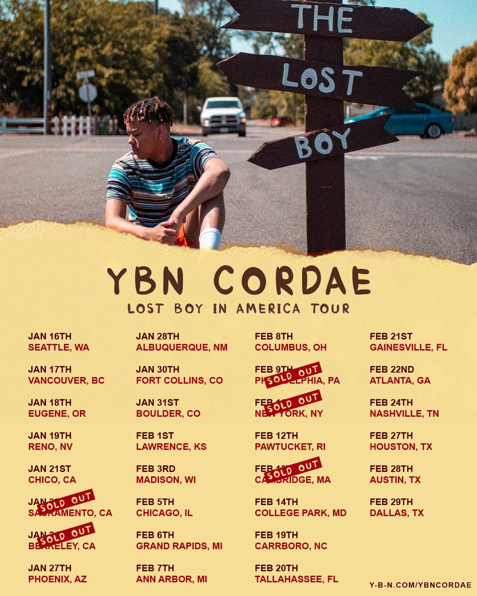 5 cities already SOLD OUT TICKETS ARE ON SALE NOW EVERYWHERE , get em while ya can !! See y'all soon   https://www. y-b-n.com/lostboyinameri ca/  … <br>http://pic.twitter.com/dh4fe1hFWc