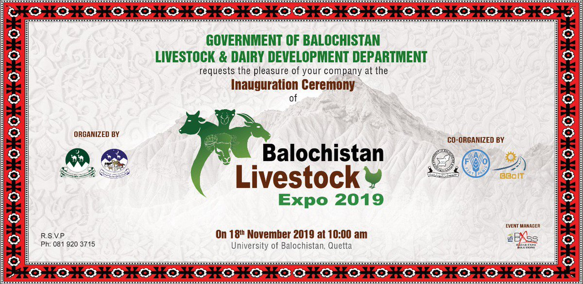 Who is going to attend this one?  Seems like the most neglected department is getting some primacy by the provincial Government.  #BalochistanlivestockExpo #Balochistan