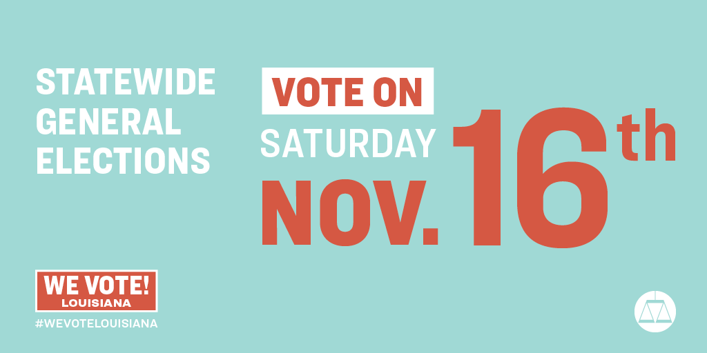 Louisiana's statewide election is tomorrow, Nov. 16. Tag your #Louisiana friends and encourage them to get out and vote! Polls open at 7 a.m. CT and close at 8 p.m. Find your polling place at geauxvote.com #GOTV #GeauxVote #WeVoteLouisiana
