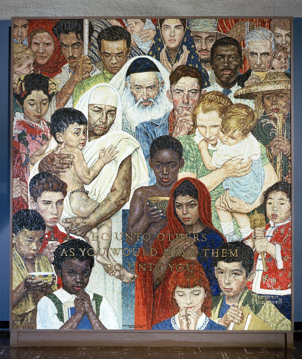 """📷: """"Do unto others as you would have them do unto you"""" - the """"Golden Rule"""" mosaic based on a painting by US artist Norman Rockwell on display at UNHQ in NYC. Saturday is #ToleranceDay: https://bit.ly/2NQyXYk"""