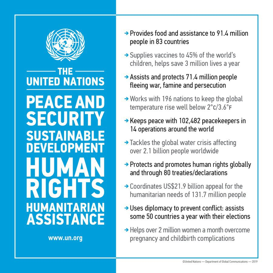 The UN:🇺🇳Feeds 91 million people🇺🇳Supplies vaccines for 45% of world's children🇺🇳Protects 71 million people forced to flee🇺🇳Tackles the climate crisis🇺🇳Keeps peace with 102,000 peacekeepers🇺🇳Fights poverty🇺🇳Promotes human rightsAnd much more: http://bit.ly/1PMffVk