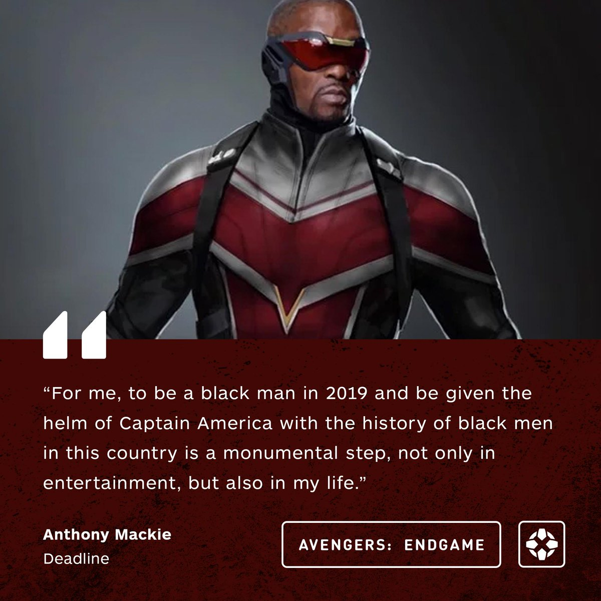 """Falcon actor Anthony Mackie says becoming the new Captain America has been an """"extremely emotional"""" experience. <br>http://pic.twitter.com/yxS4jo6Oxp"""