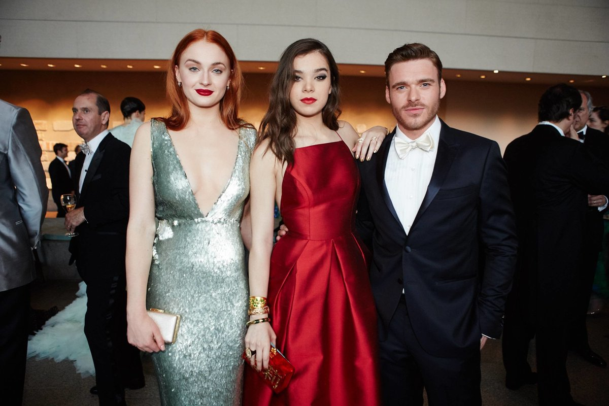 Sophie Turner with Richard Madden and Hailee Steinfeld at the Met Gala 2015