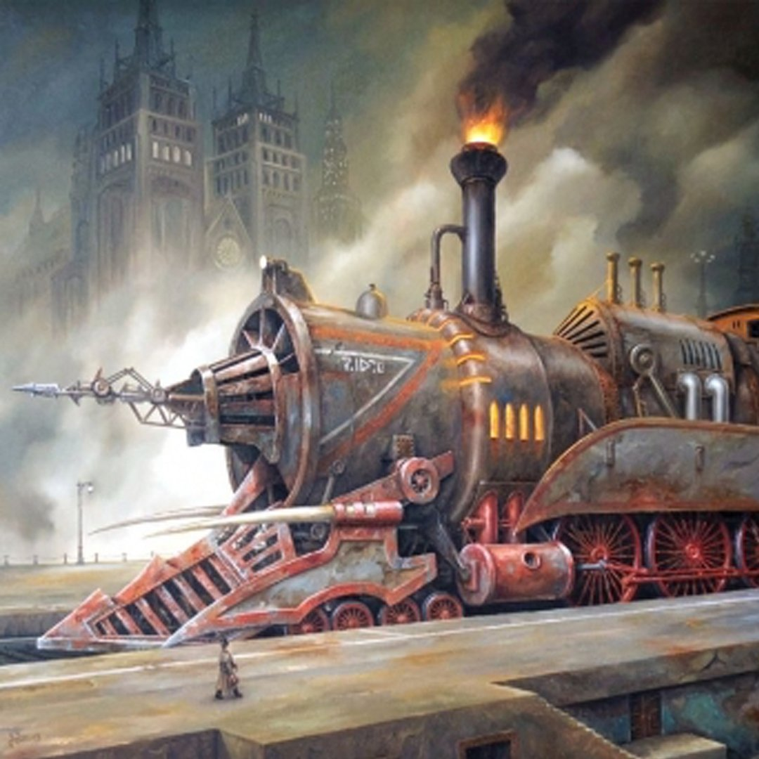 A steampunk train from the greatest era that never was. What's your favorite steampunk inspired mode of transport? #laurelannehill #enginewomanslight #steampunk #steampunkart #bookaddict  #steampunktrain