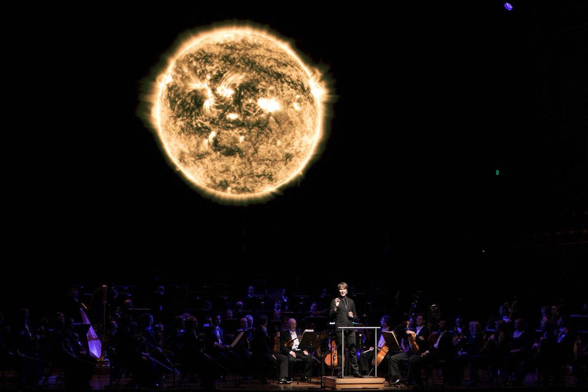 Last night's mesmerising marrying of art and science with @ProfBrianCox, @BenNorthey & @jack_liebeck in A Symphonic Universe. Shows tonight and tomorrow, don't miss out! @artscentremelb