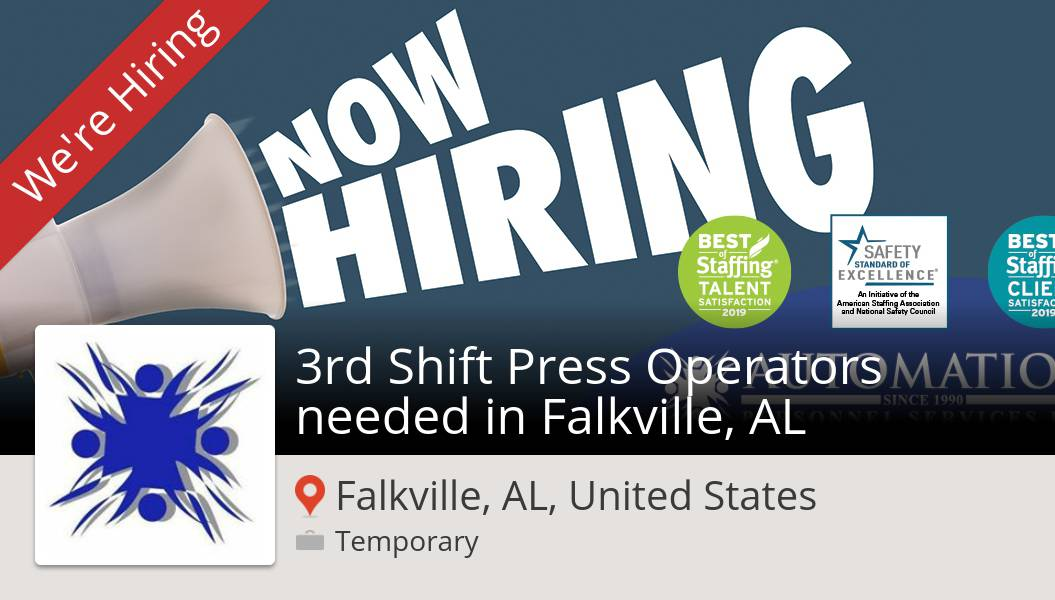 Are you a 3rd Shift #Press #Operators needed in Falkville, AL in #FalkvilleALUnitedStates? #AutomationPersonnelServices is waiting for you! #job https://workfor.us/apstemps/9e1u  #job #hiring