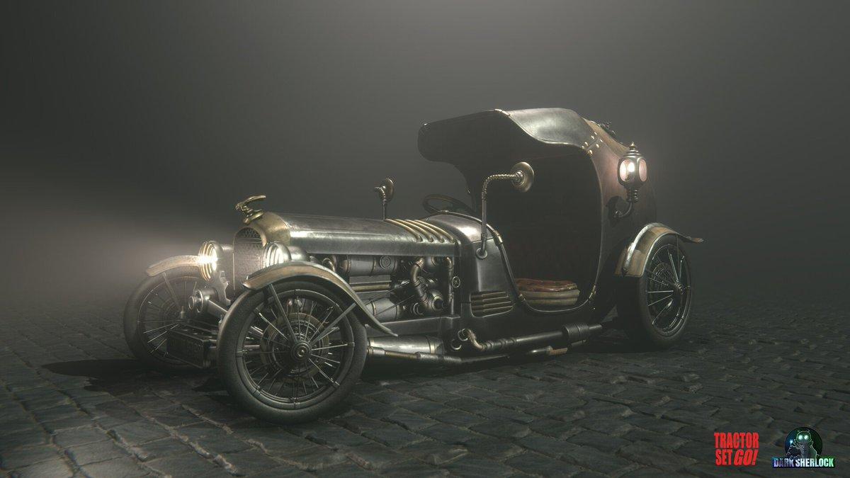 #Artwork Awesome of the Day: #Steampunk ⚙️ 3D Rendering #Car 🚗 #Illustration 🖼️ by Marton Attila via @mythania #SamaArt #SamaCars