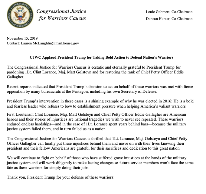 **The Congressional Justice for Warriors Caucus Applaud @realDonaldTrump for Taking Bold Action to Defend Nations Warriors** #clintlorance #mattgolsteyn #eddiegallagher @replouiegohmert @Rep_Hunter