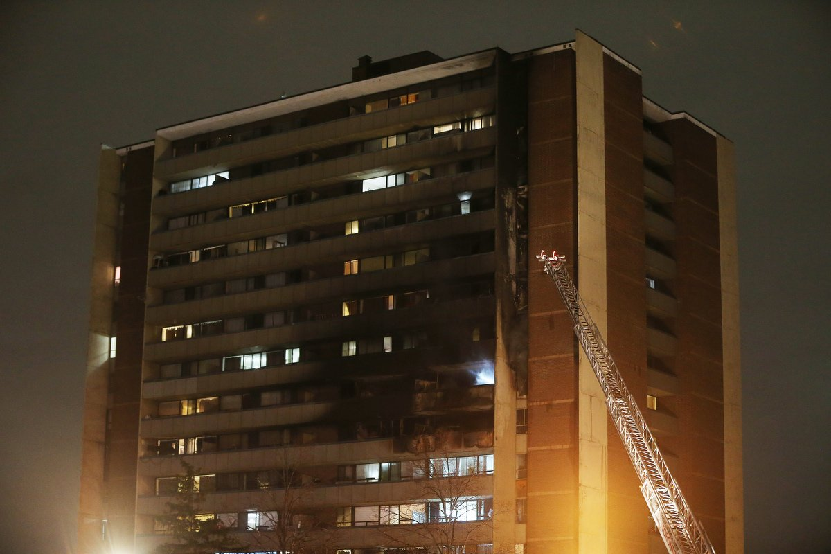 Toronto firefighters battled a five-alarm blaze at a 15-storey high rise near Jane Street and Finch Avenue West at 235 Gosford Boulevard in Toronto. November 15, 2019.  TTC buses offered shelter for tenants displaced by the fire. #BreakingNews #TorontoFire
