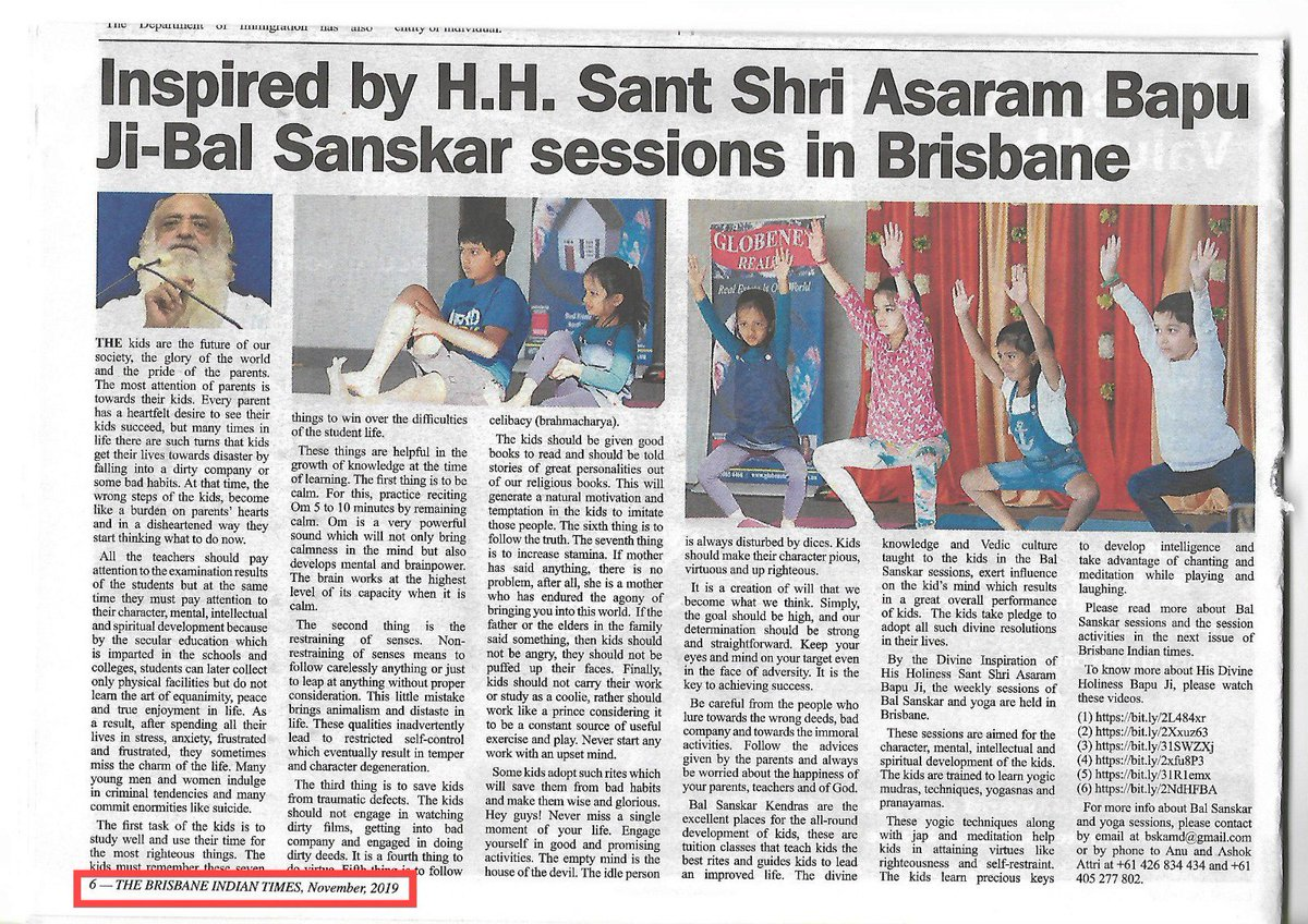 Kids are the future of #Vishvguru_Bharat !! So disciples of #Bapuji are committed to uplift them...  By the inspiration of #SaintForHumanity Shri #Asharam Bapu Ji; Bal Sanskar sessions has been organised in Brisbane<br>http://pic.twitter.com/tyTwczMCaW