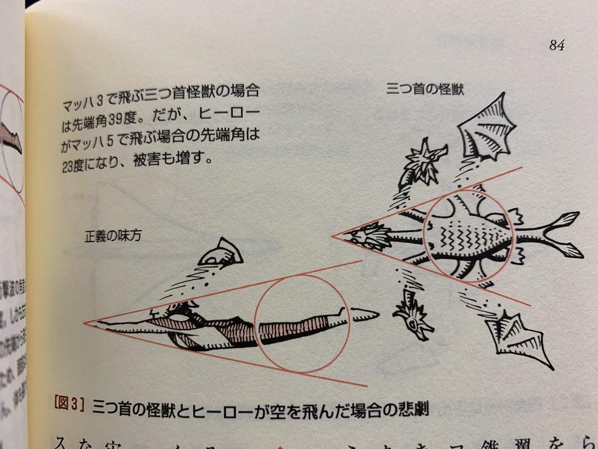 わたしの尊敬する柳田先生の著書から。ウルトラマンが実力どおりマッハ3で飛ぶと、衝撃波で頭が半分に千切れ飛ぶ。キングギドラに至っては見る影もない。