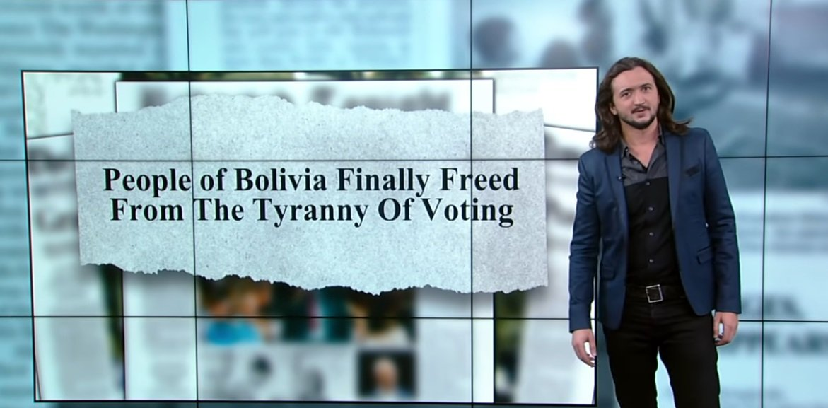 Headline from the future. Thanks, @LeeCamp . #Bolivia #BoliviaCoup #boliviaprotests #BoliviaEnCrisis #OurRevolution<br>http://pic.twitter.com/W2wBo1aCYF