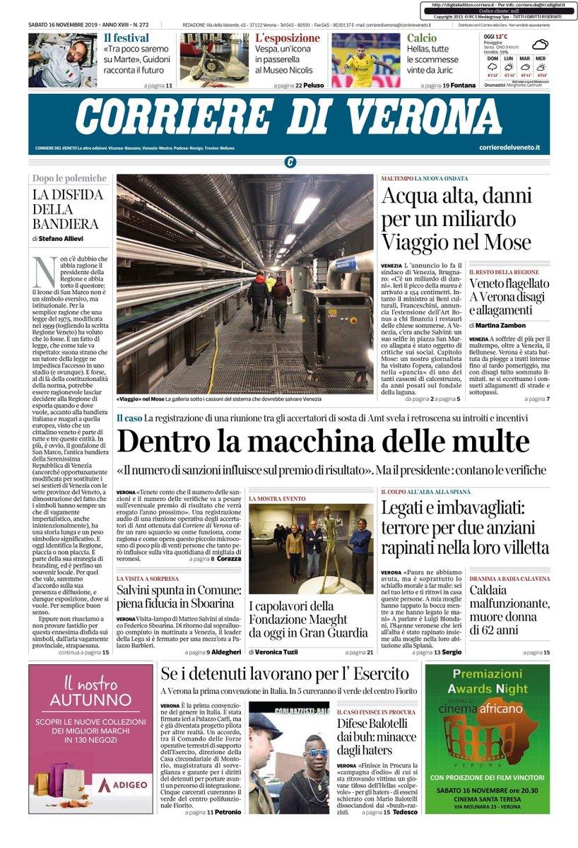 buongiorno con la prima pagina del Corriere di Ver...