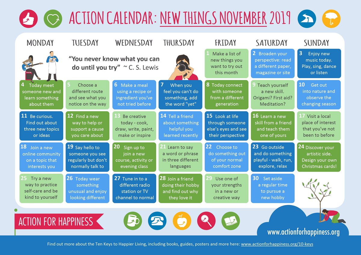 New Things November - Day 16: Learn a new skill from a friend and teach them one of yours actionforhappiness.org/new-things-nov…