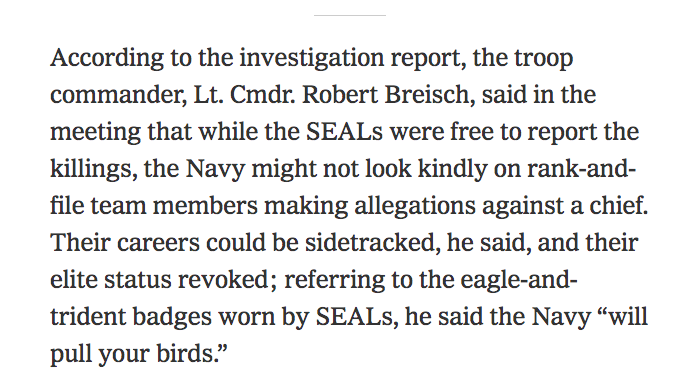 Imagine how the seven Navy SEALs who reported their platoon chief feel today, after risking their careers to report Gallaghers crimes -- despite threats made by their troop commander.
