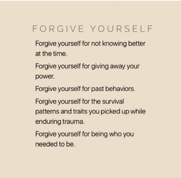 Today I am struggling with the fact that I have forgiven those that hurt me but am unable to forgive myself for choosing them in the first place and/or allowing myself to be hurt. So I found this little gem of an image and I share it with you.Credit:https://medium.com/@souljourneycoach/what-who-do-you-need-to-forgive-to-move-forward-and-live-your-best-life-dd136caed38a …