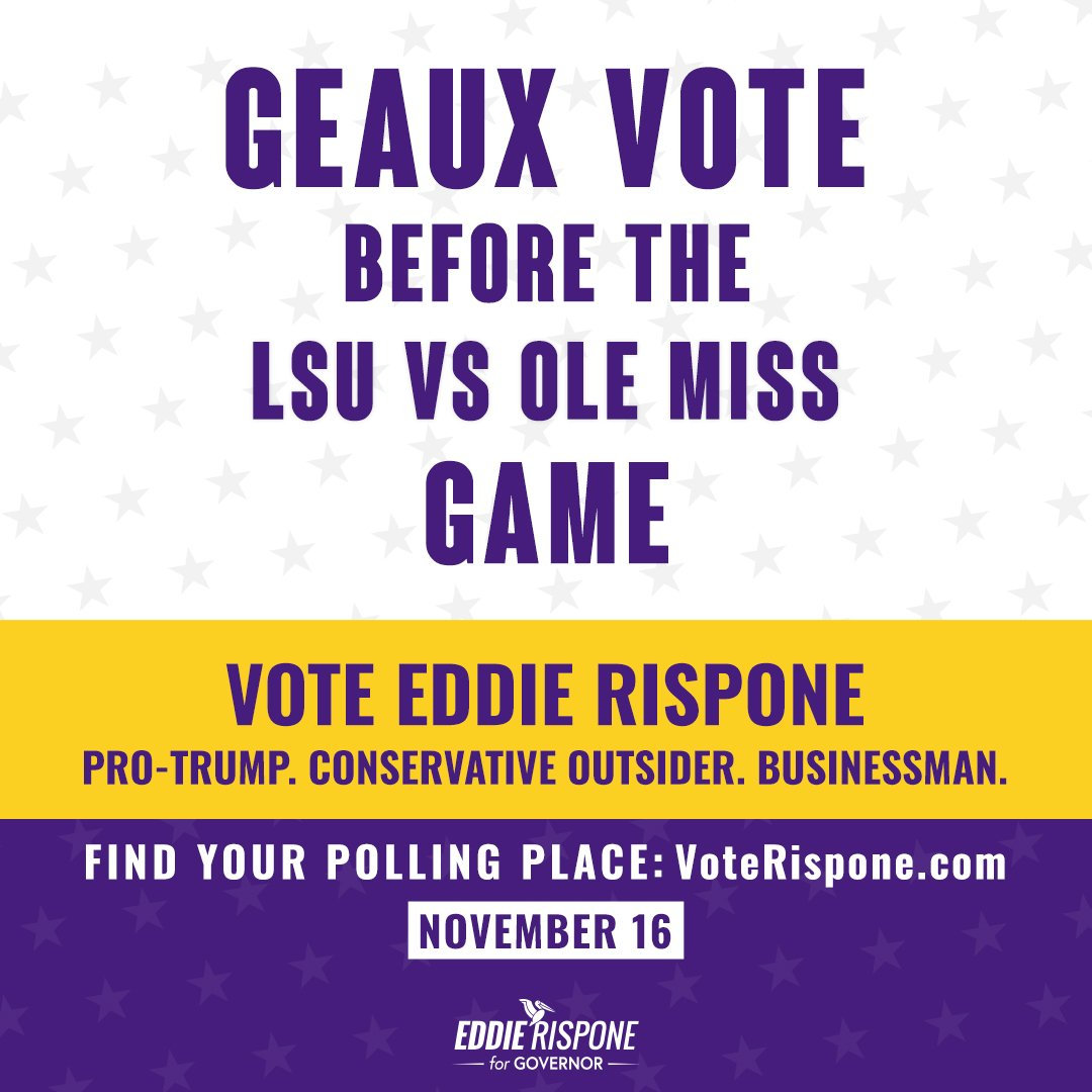 Our #1 @LSUfootball Tigers play @OleMissFB tonight at 6 PM! Head to VoteRispone.com to get your polling info to vote before the game! After tonight, Louisiana will be #1 in football and on our way to becoming #1 for jobs and opportunity. #LAGov #VoteRispone #GeauxTigers
