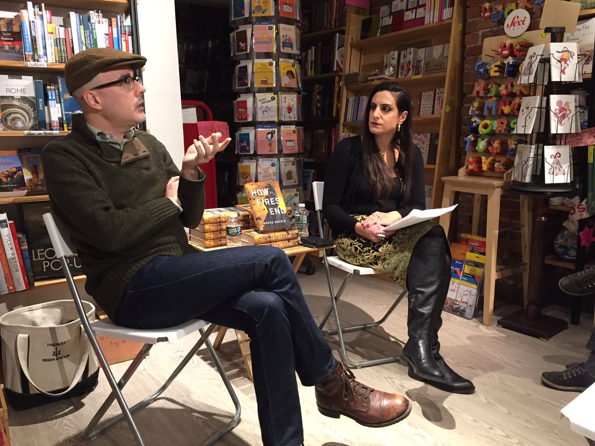 What a fabulous night @iambooksboston with @MarcoRafala author of HOW FIRES END in convo with @OliviaKCerrone author of THE HUNGER SAINT. Rich, moving discussion! #amreading