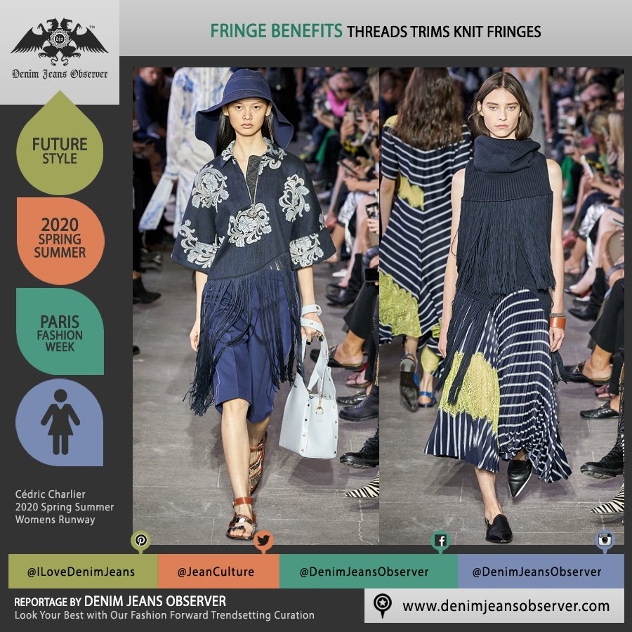 Cédric Charlier 2020 Spring Summer Womens Runway Catwalk Looks Collection - Mode à Paris Fashion Week France - Americana Western Fringes Trims Threads Knit Patchwork Knitwear   Lace Embroidery Funnelneck Stripes Shorts Handbag - Fashion Forward Trendsetting Curation by Denim Jeans Observer