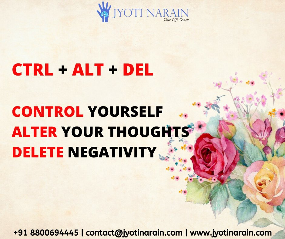"""LIFE'S IMPORTANT KEYS: CTRL+ALT+DEL.""#jyotinarain #SaturdayMotivation #WeekendSunshine #SaturdayMorning #lifecoach #coaching #mentoring #success #businesscoach #guide #startups #motivationalcoach #transformationalleadership #SuccessStory #ThoughtOfTheDay #MotivationalQuotes"
