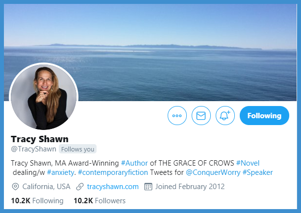 Tracy Shawn @TracyShawn  Tracy Shawn, MA Award-Winning #Author of THE GRACE OF CROWS #Novel dealing/w #anxiety. #contemporaryfiction Tweets for  @ConquerWorry  #Speaker California, USA http://tracyshawn.com  https://www.tracyshawn.com/     Tks for watching our YouTube Videos…Paulpic.twitter.com/uDxYGhQXiy