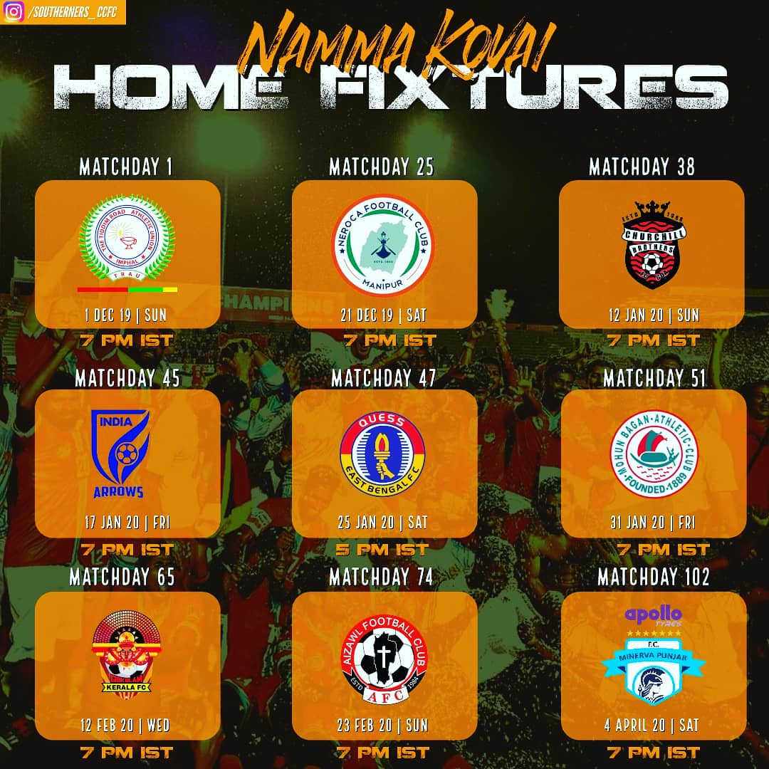 Here are our home fixtures for the upcoming I-league 2019-2020. Join us in our stands and cheer for our Champion Singams @ChennaiCityFC  at our none other than Nehru Stadium, Covai. . . . DM us for more information. #CCFC #Champions2019 #NammaKovai #ileaguepic.twitter.com/Ofc1FDBpV4 – at Nehru Stadium
