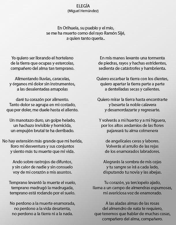 Literland Ar Twitter En El Aniversario De Ramón Sijé Recordamos La Elegía Que A Su Muerte Escribió Miguel Hernández Junto Con La Que Lorca Escribió A Ignacio Sánchez Mejías Dos Obras Cumbres