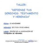 Image for the Tweet beginning: Taller «Defiende tus derechos: Testamento