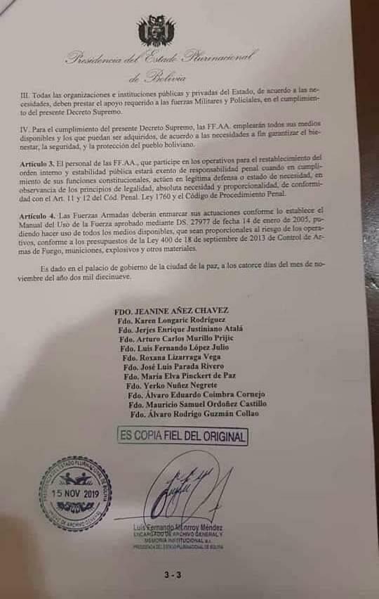 Por decreto: militares bolivianos tiene licencia para matar