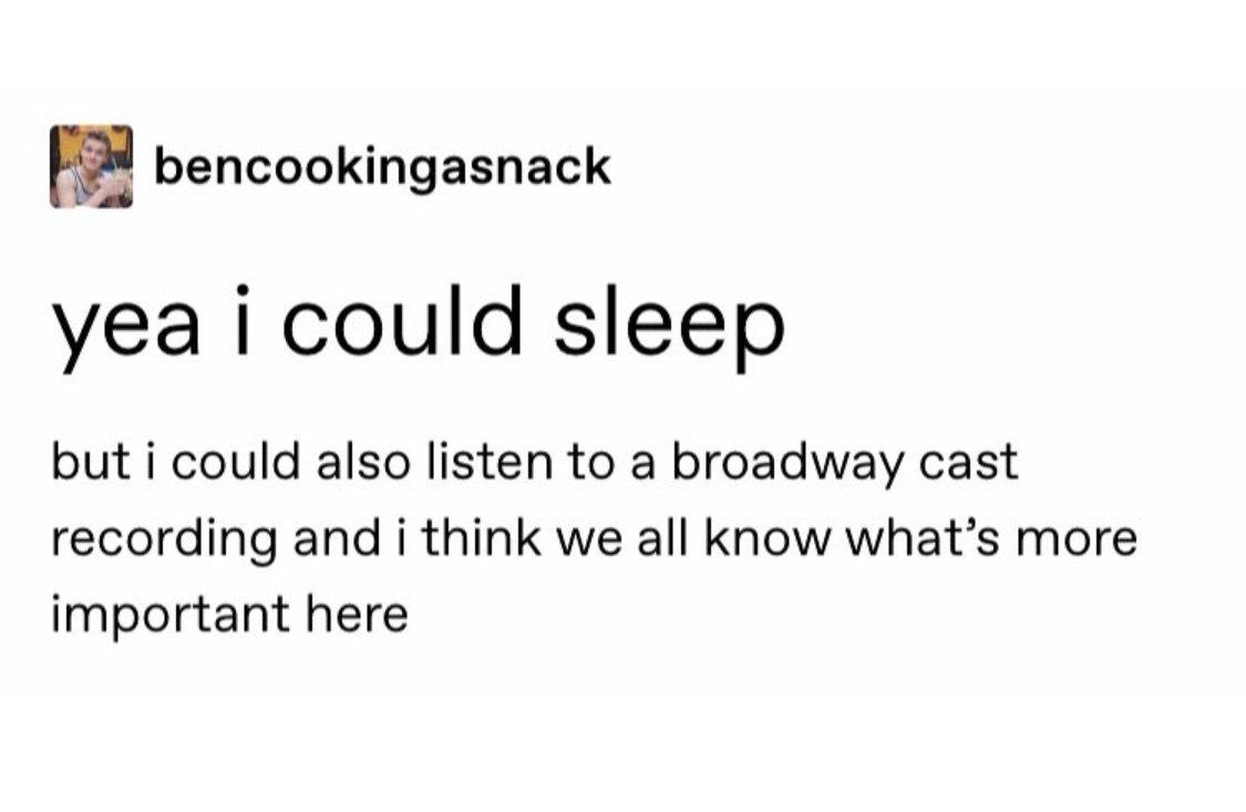 Sensible Broadway fan priorities. <br>http://pic.twitter.com/qkr3gIu8EQ