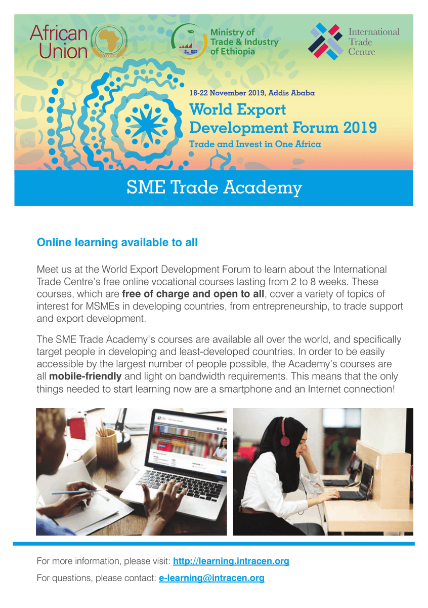 Have you seen the official @SMEtradeacademy flyer for #WEDF19? 🌍Find it here: https://bit.ly/2KtYWTfOur special #AfCFTA #elearning module for #WEDF19: http://learning.intracen.org/wedfFor more information: http://intracen.org/wedfSee you in Addis Ababa! 🇪🇹#SME #tradeacademy 🎓