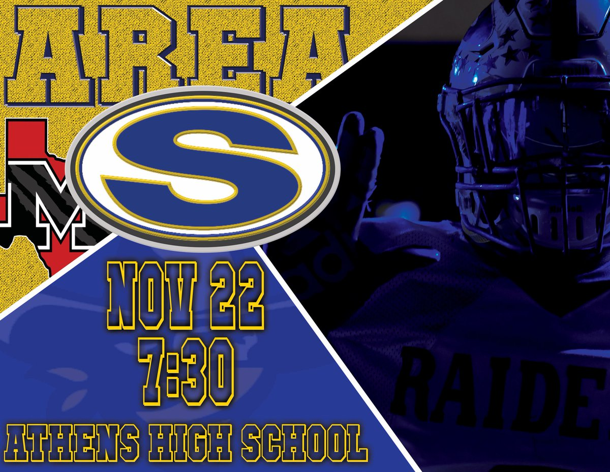 RAIDER FOOTBALL AREA ROUND vs. Mexia at Athens High School       708 E College St       Athens, TX  75751    Friday, November 22   7:30  The RAIDERS are coming... Be THERE! <br>http://pic.twitter.com/qYaDphwwYz